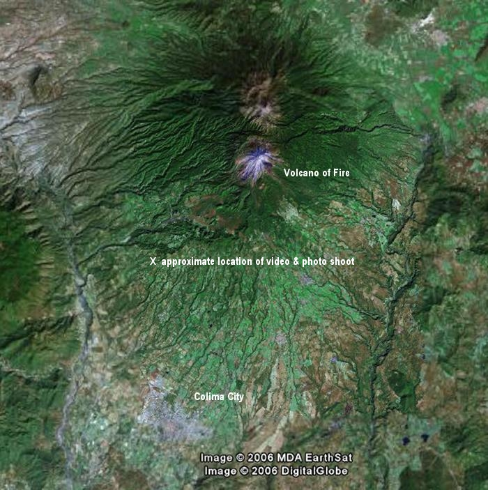Colima Volcano Satellite View Map Enlargement