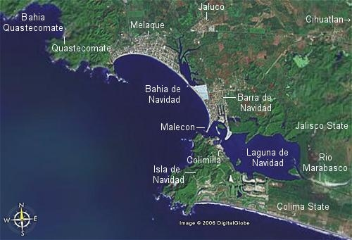 Melaque and Barra de Navidad share the same bay in Mexico